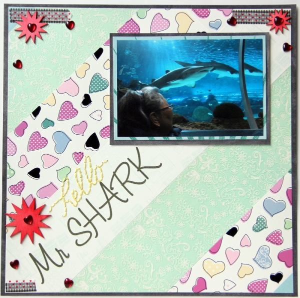 Hello Mr Shark aquarium scrapbook layout