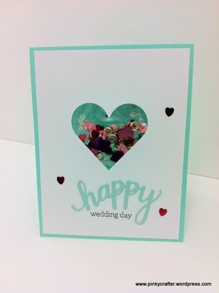 Hero arts Happy Wedding Day shaker cards