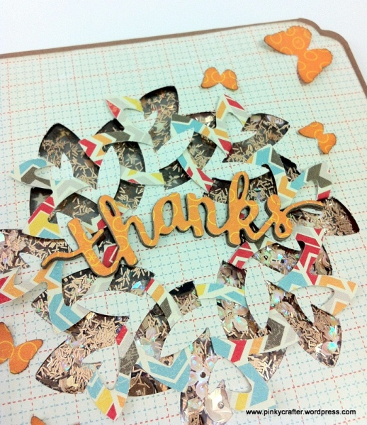 Thanks shaker card using Martha stewart cut and fold petal punch
