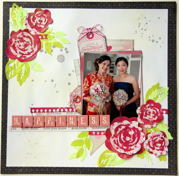 Happiness wedding scrapbook layout