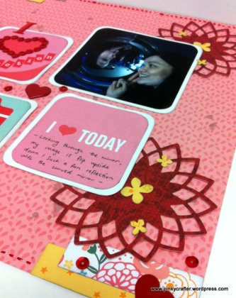 reflection scrapbook layout with sequins