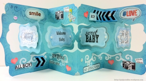 Double katie label pivot card Special Delivery Baby card