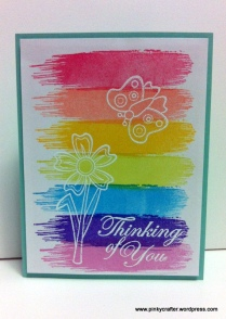 pink paislee color wash brush stroke thinking of you card