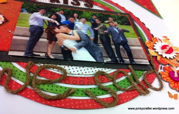 dramatic circle rings scrapbook layout