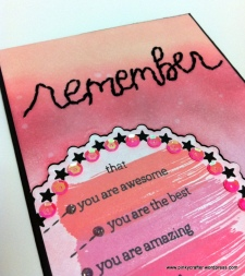 distress inks background remember you are awesome card