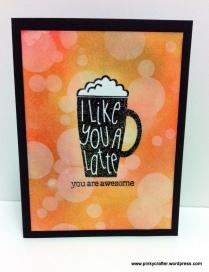 bokeh i like you a latte card