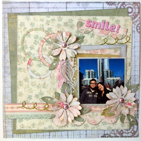 Smile scrapbook layout using tim holtz die