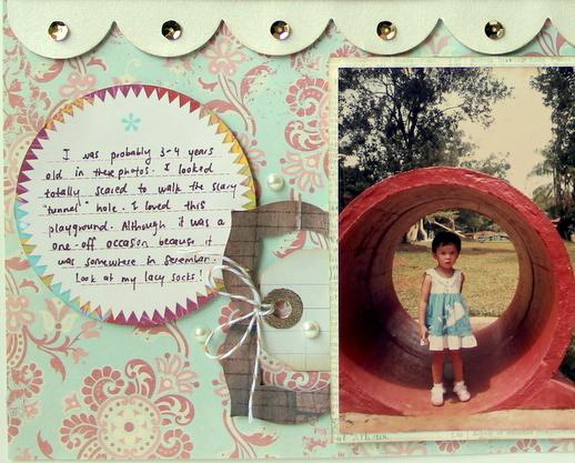 childhood photo scrapbook layout