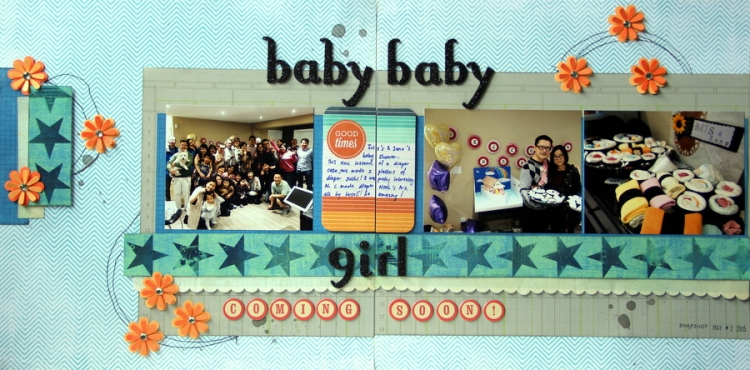 Baby shower scrapbook layout