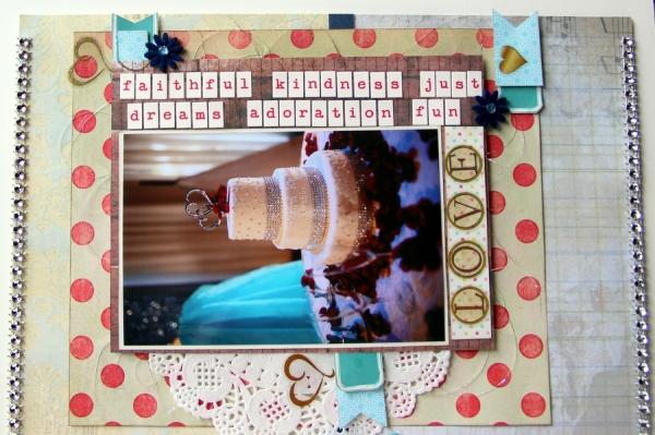 lovely cake scrapbook layout caption tilt page