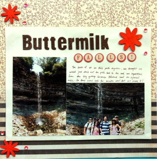 Buttermilk falls scrapbook layout