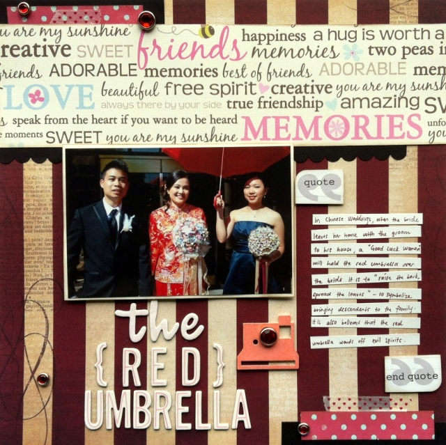 The red umbrella scrapbook layout