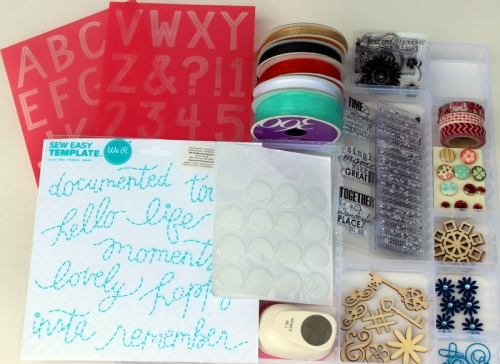 stencils, ribbons accessories to homemade kit