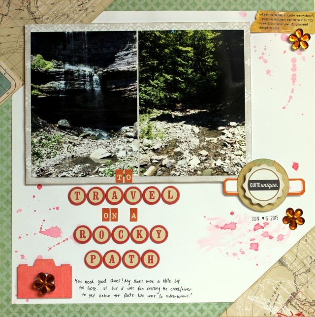 travel on rocky path scrapbook layout