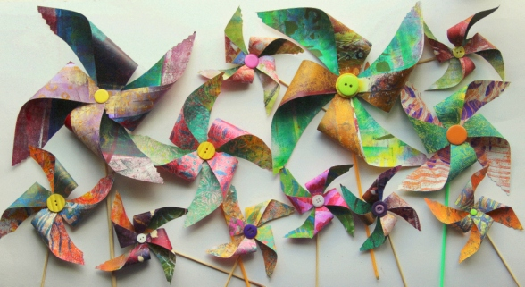 gelli print pinwheels