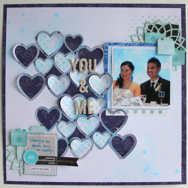 You & Me Wedding scrapbook layout