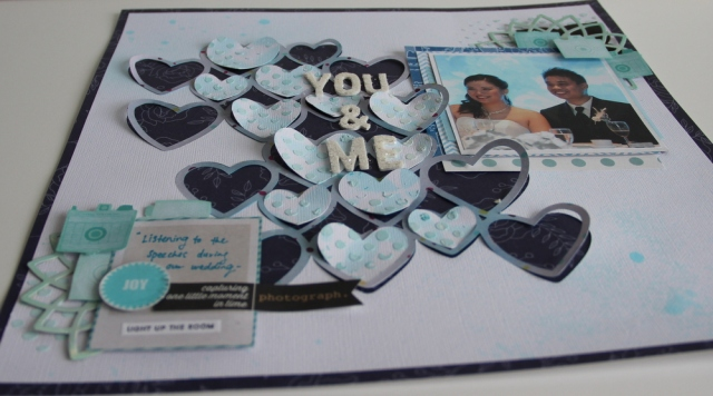 You & Me Wedding scrapbook layout close up