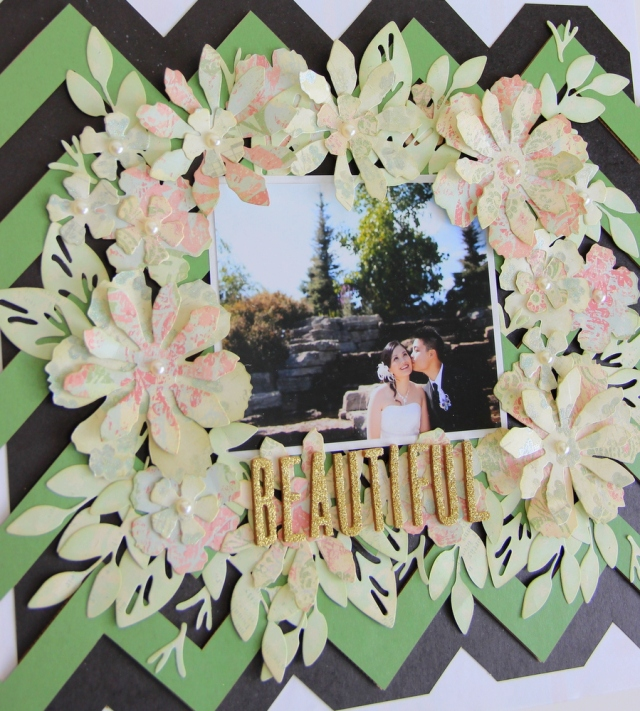 """Beautiful"" Wedding Scrapbook Layout"