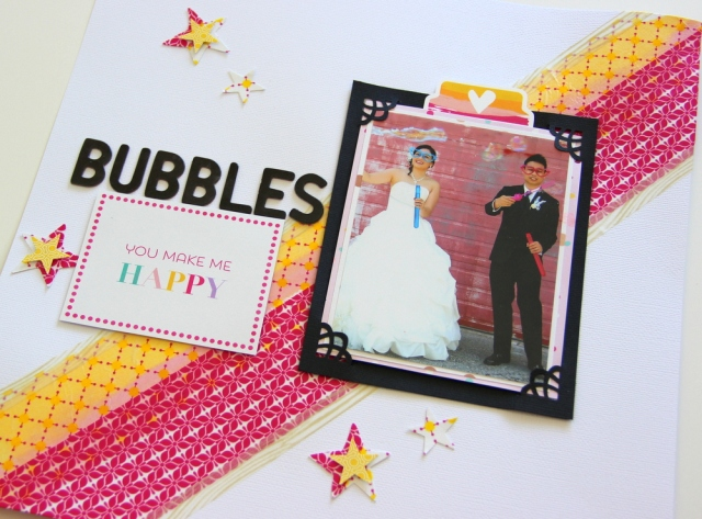 Bubbles Wedding Scrapbook layout