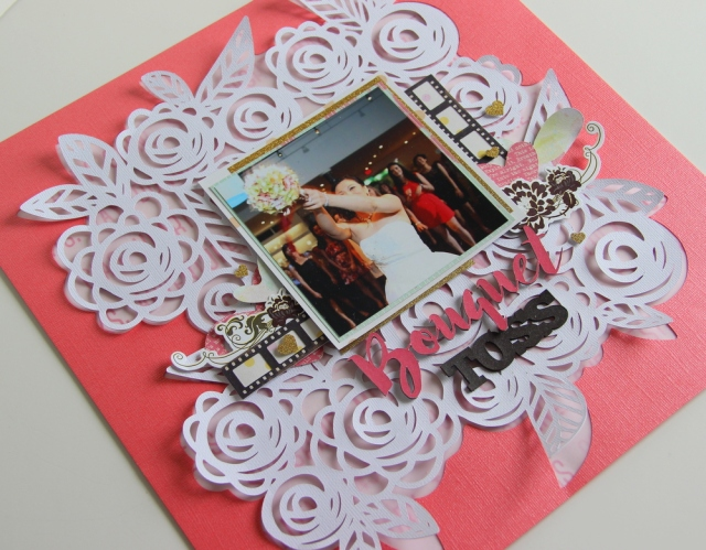 Bouquet Toss Scrapbook Layout with Flower Cutfile from hipkit