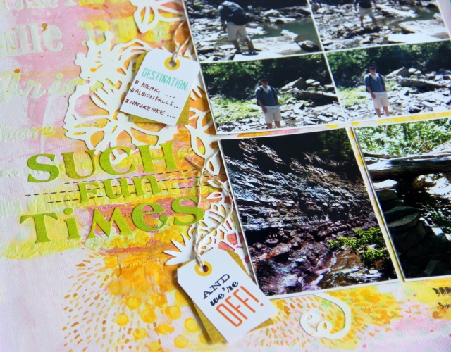Mixed media layout - Such fun time scrapbook layout close up