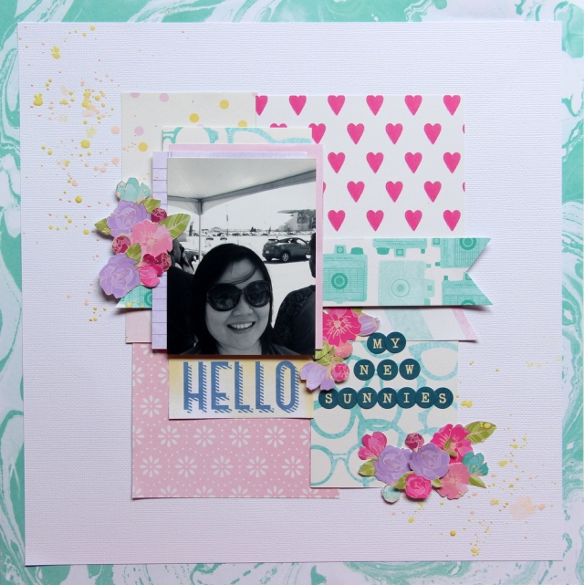 hello my new sunnies scrapbook layout