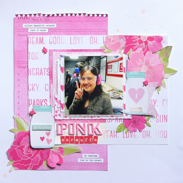 Pink earmuffs monochromatic Scrapbook layout