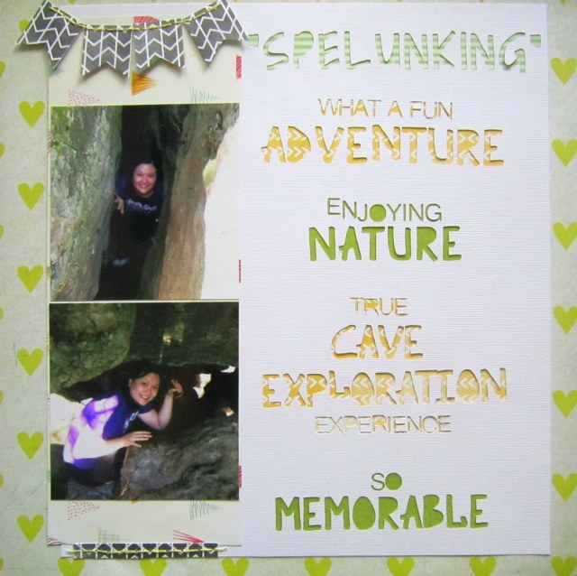 spelunking scrapbook layout