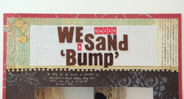 Shiny title of Sand Bump Scrapbook layout Counterfeit Kit Challenge #1 Aug6th