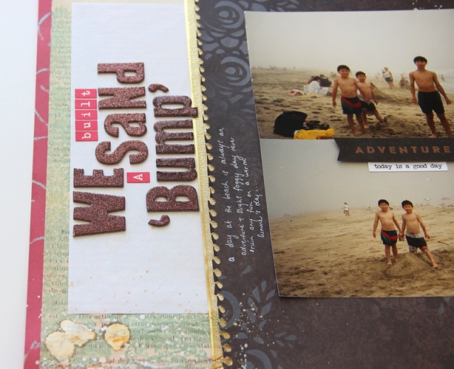 Sand Bump Scrapbook layout Counterfeit Kit Challenge #1 Aug6th