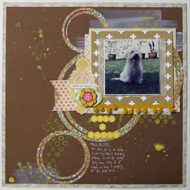 counterfeit kit challenge cutie scrapbook layout