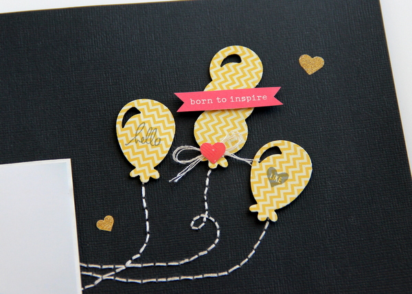 diecuts balloons docrafts Kindred Spirits Scrapbook layout
