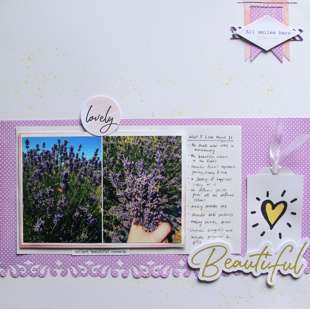 Beautiful lavender scrapbook layout