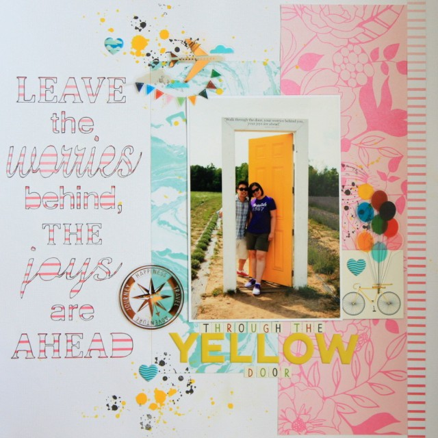 """Yellow Door"" long title diecut scrapbook layout"