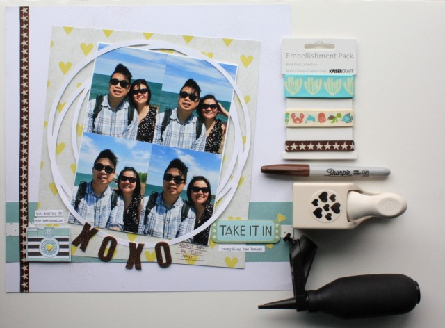 XOXO scrapbook layout