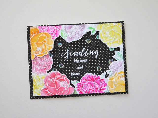 card - the ton stamp floral background for coloring