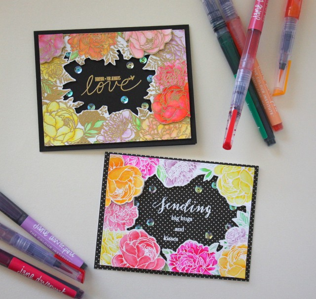 coloring with mermaid markers card - the ton stamp floral background for coloring