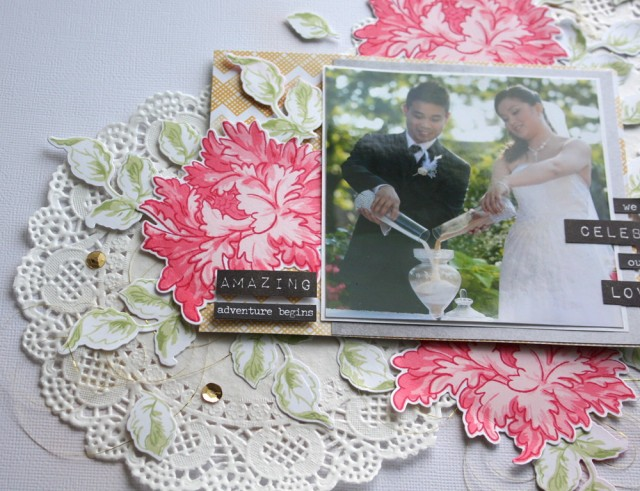 Altenew Majestic bloom and label love stamp set with scrapbooking