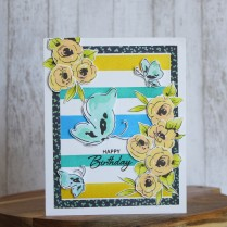 Birthday card using Altenew Painted Flowers and Painted butterflies stamp set
