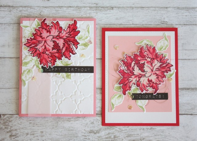 Floral themed cards for birthday and wedding card