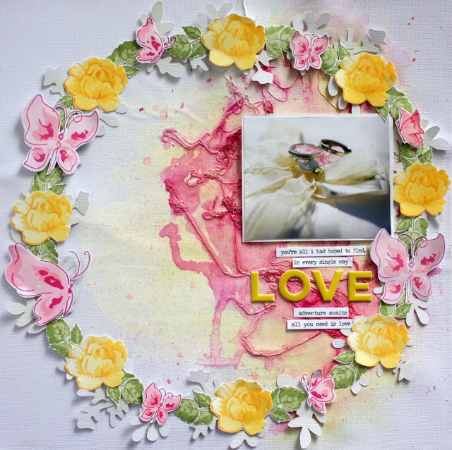 Love (with altenew stamps) Wedding Scrapbook Layout