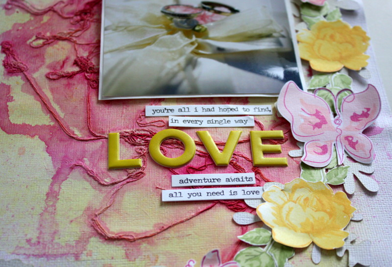 Love (with altenew stamps) Wedding Scrapbook Layout