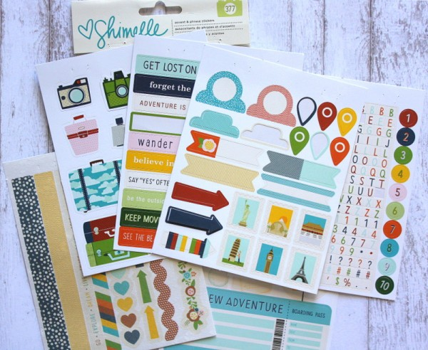Shimelle stickers -Embellishments for my DIY Traveler Notebook Kit