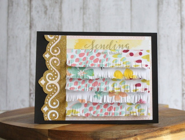 Fringed card thank you card