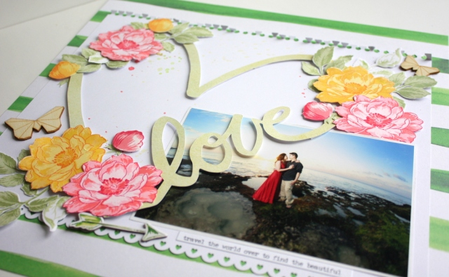 """Love"" travel Scrapbook layout"