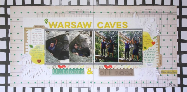 Warsaw Caves Scrapbook Layout for SCT sketch Challenge