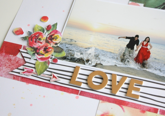 Love scrapbook layout with altenew reflections kit and sketch n scrap sketch layout