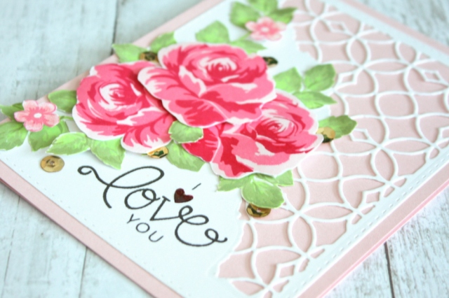 Altenew Vintage Flowers I Love you card closeup