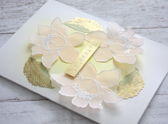 Celebrate card with gold embossing