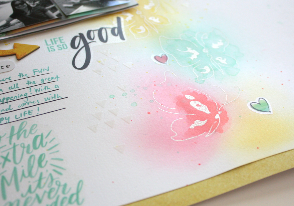 Life is good scrapbook layout using altenew painted butterflies stamp set